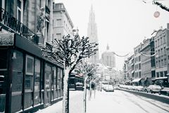 Antwerp at winter snowstorm. Horizontal toned and grained image Royalty Free Stock Photo