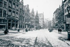 Antwerp at winter snowstorm Stock Image