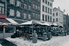 Antwerp at Winter Snowstorm. Stock Image