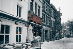 Antwerp at Winter Snowstorm Stock Photos