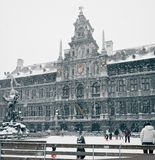 Antwerp at Winter Snowstorm Royalty Free Stock Photo