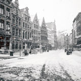 Antwerp at winter snowstorm Stock Photography