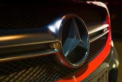ANTWERPEN, ΒΈΛΓΙΟ - 3 ΜΑΐΟΥ 2015: Benz της Mercedes κινηματογράφηση σε πρώτο πλάνο σημαδιών Μ Στοκ φωτογραφία με δικαίωμα ελεύθερης χρήσης