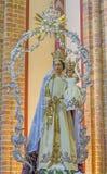 ANTWERPEN, BELGIË - SEPTEMBER 5, 2013: Steenhulp van Onbevlekte Ontvangenis van calvary naast St Pauls kerk Paulskerk Stock Afbeelding