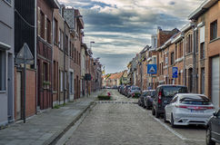 Antwerpen, BELGIA 03, WRZEŚNIA 2016 Spokojna ulica Antwerp Zdjęcia Royalty Free