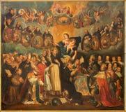 Antwerpen - de Heilige Dominic met de rozentuin en Madonna (17 cent door onbekende schilder in de kerk van Heilige Willibrordus Stock Foto's