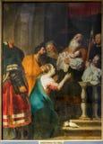 Antwerpen - de Presentatie in de Tempel door Cornelius de Vos in St. Pauls kerk (Paulskerk) Stock Foto