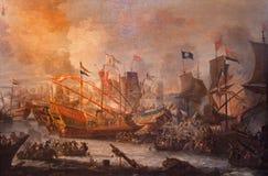Antwerpen - de verf van Slag van Lepanto van 7 10 1571 door onbekende schilder in de kerk van Heilige Pauls (Paulskerk) Stock Afbeeldingen