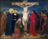 Antwerpen - Kruisiging als deel van Zeven Verdriet van Maagdelijke cyclus door Josef Janssens van jaren 1903 - 1910 in de kathedra royalty-vrije stock afbeelding