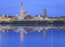 Antwerpen skyline reflecting in river Royalty Free Stock Images