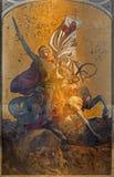 Antwerpen - St. George fresko op het belangrijkste altaar van Joriskerk of st. George kerk van. cent 19. Stock Afbeeldingen