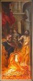 Antwerpen - St. John Doopsgezind voor Herodes door Van Balen H. DE Oude (1560-1632) als deel van triptiek in de kathedraal van Onz royalty-vrije stock afbeeldingen