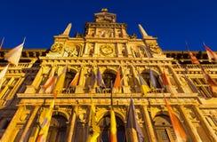 Antwerpen - stadhuis in schemer Royalty-vrije Stock Afbeelding