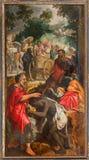 Antwerpen - Verf van scène - Doopsel van de Ethiopische Eunuch door Philip door onbekende schilder in de kathedraal van Onze Dame. Stock Afbeeldingen
