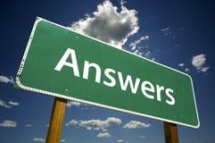 Antwoorden - weg-teken. Stock Afbeelding