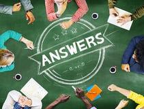 Antwort-Erklärungs-Fragen-Meinungs-Vorschlags-Konzept Stockfoto