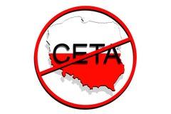 Anty CETA - περιεκτική οικονομική και εμπορική συμφωνία για το άσπρο υπόβαθρο, χάρτης της Πολωνίας Στοκ Φωτογραφίες