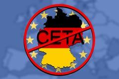 Anty CETA - acordo econômico e de comércio detalhado no fundo do Euro, mapa de Alemanha Imagem de Stock