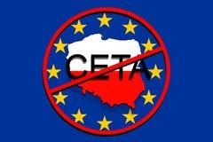 Anty CETA - acordo econômico e de comércio detalhado no fundo do Euro, mapa do Polônia Imagem de Stock