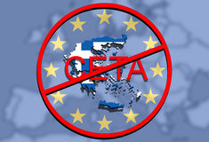 Anty CETA - comprehensive economic and trade agreement on Euro Union background, Greece map Stock Photo