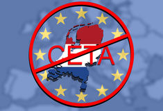 Anty CETA - comprehensive economic and trade agreement on Euro Union background, Holland map Stock Images