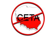 Anty CETA - comprehensive economic and trade agreement on white Background, Poland map stock photos