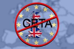 Anty CETA - omfattande ekonomisk och handelöverenskommelse på eurobakgrund, Förenade kungariket översikt vektor illustrationer