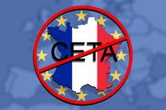 Anty CETA - omfattande ekonomisk och handelöverenskommelse på eurobakgrund, Frankrike översikt vektor illustrationer