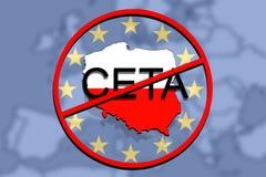 Anty CETA - omfattande ekonomisk och handelöverenskommelse på eurobakgrund, Polen översikt royaltyfri illustrationer