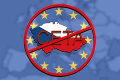 Anty CETA - omfattande ekonomisk och handelöverenskommelse på eurobakgrund, Tjeckienöversikt royaltyfri illustrationer