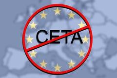 Anty CETA - omfattande ekonomisk och handelöverenskommelse på eurounionbakgrund stock illustrationer