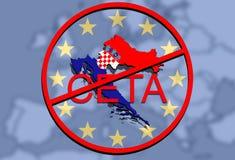 Anty CETA - omfattande ekonomisk och handelöverenskommelse på facklig backgound för euro, Kroatienöversikt vektor illustrationer
