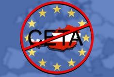 Anty CETA - omfattande ekonomisk och handelöverenskommelse på facklig bakgrund för euro, Österrike översikt vektor illustrationer