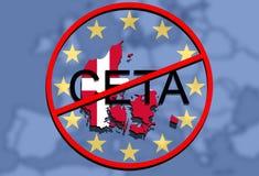 Anty CETA - omfattande ekonomisk och handelöverenskommelse på facklig bakgrund för euro, Danmark översikt stock illustrationer