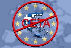 Anty CETA - omfattande ekonomisk och handelöverenskommelse på facklig bakgrund för euro, Grekland översikt vektor illustrationer