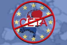 Anty CETA - omfattande ekonomisk och handelöverenskommelse på facklig bakgrund för euro, Holland översikt stock illustrationer