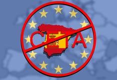 Anty CETA - omfattande ekonomisk och handelöverenskommelse på facklig bakgrund för euro, Spanien översikt royaltyfri illustrationer
