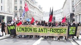 Anty facist protest w Środkowym Londyn zdjęcie wideo