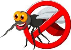 Anty komara znak z śmiesznym kreskówka komarem Fotografia Royalty Free