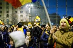 Anty korupcja protest, Bucharest, Rumunia zdjęcia stock