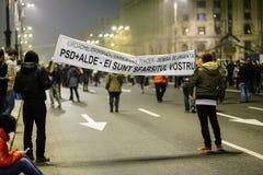 Anty korupcja protest, Bucharest, Rumunia Fotografia Royalty Free