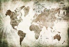 Antyczna światowa podróży mapa Obraz Stock