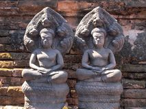 Antyczna buddyjska khmer sztuka w Thailand Obrazy Royalty Free