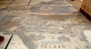 Antyczna byzantine mapa ziemia święta, Jordania, Środkowy Wschód Obrazy Royalty Free