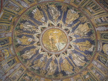 Antyczna byzantine mozaika chrzczenie Jezus obrazy royalty free