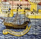 Antyczna ceramiczna płytka, muzealny Azulejo, Lisbon, Portugalia obrazy royalty free