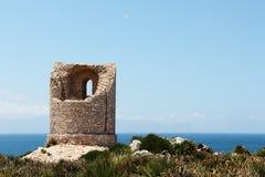Antyczna costal wieża obserwacyjna, capo rama, Sicily Obrazy Royalty Free