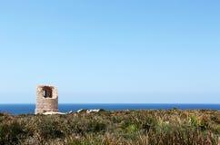 Antyczna costal wieża obserwacyjna, capo rama, Sicily Obrazy Stock