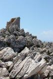 Antyczna costal wieża obserwacyjna, tło Fotografia Stock