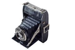 Antyczna czarna retro kamera Obrazy Royalty Free